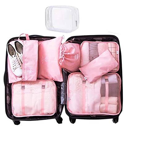 08baa20b95c0 8 Set Packing Cubes - WantGor 6 Travel Organizer Luggage Compression  Pouches + 1 Shoes Bag+ 1 Clear Toiletry Bag (Pink)