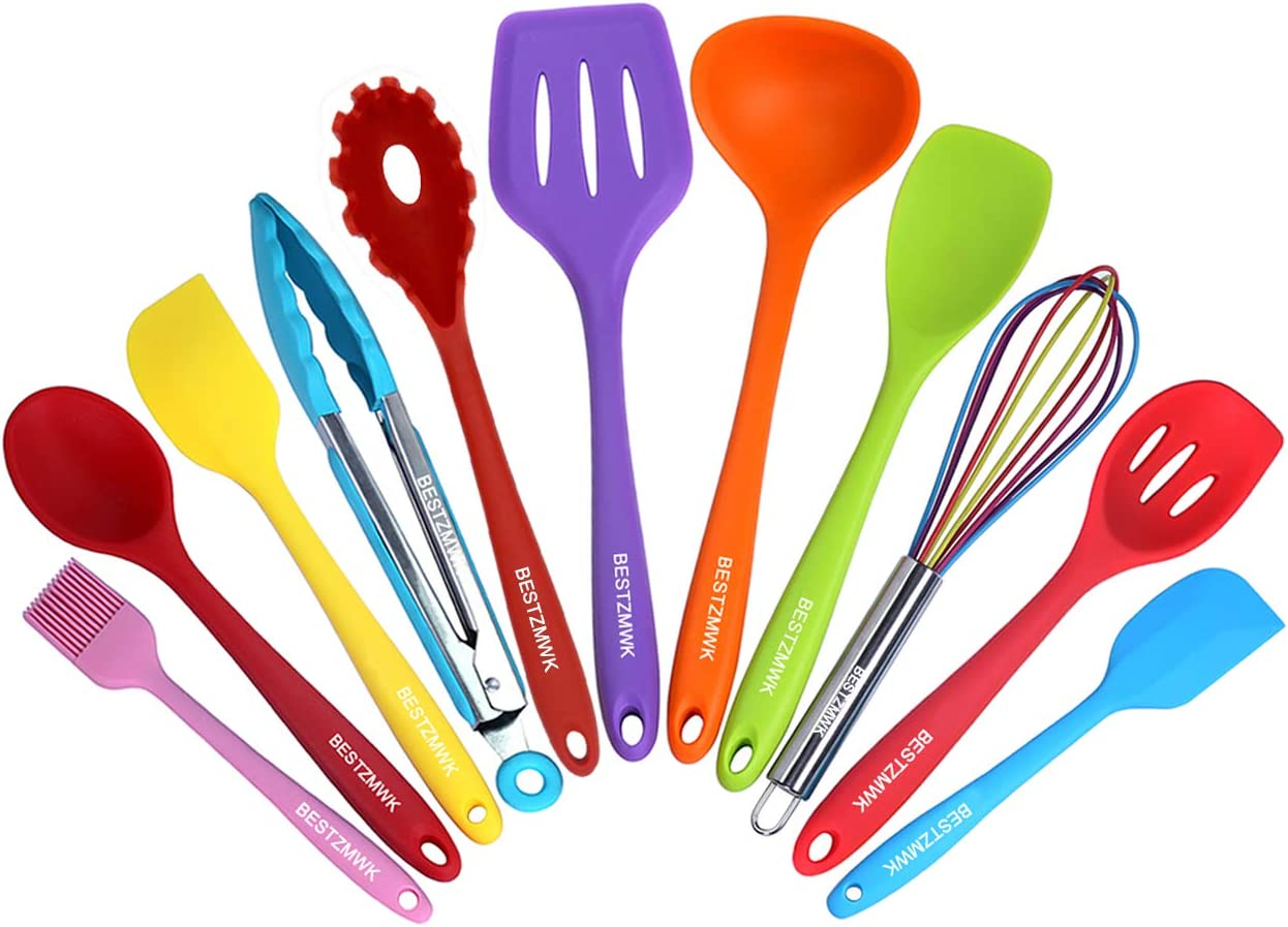 11 Colorful Silicone Kitchen Utensils - Cookware with Spatula Set