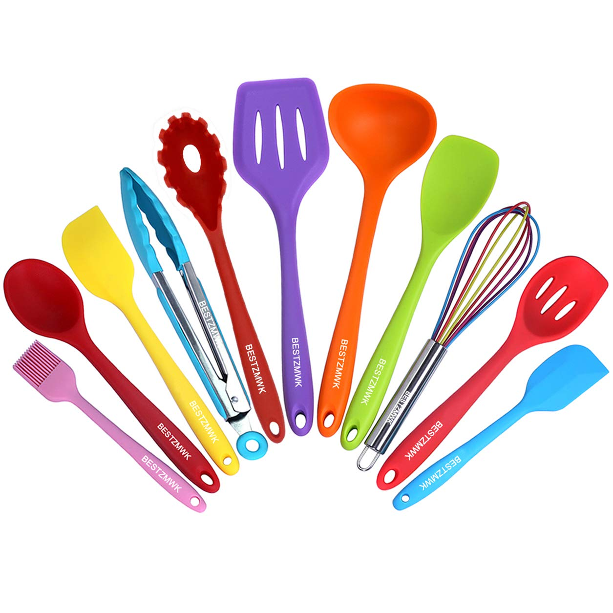 Kitchen Utensil Set - 11 Cooking Utensils - Colorful Silicone Kitchen Utensils - Nonstick Cookware with Spatula Set - Colored Best Kitchen Tools Kitchen Gadgets (Multicolor)