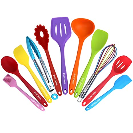 Kitchen Utensil Set - 11 Cooking Utensils - Colorful Silicone Kitchen  Utensils - Nonstick Cookware with Spatula Set - Colored Best Kitchen Tools  ...