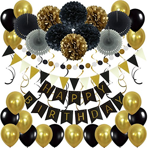 ZERODECO Birthday Decoration Set, Happy Birthday Banner Bunting with 4 Paper Fans Tissue 6 Paper Pom Poms Flowers 10 Hanging Swirls and 20 Balloons for Birthday Party Decorations - Black and Gold -