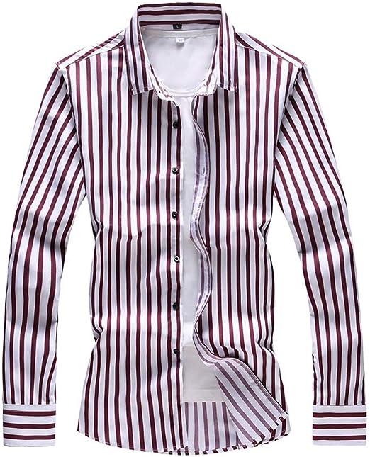 YaXuan Camisas a Rayas de Manga Larga para Hombres, Primavera, otoño, Moda, Negocios, Hombre, Camisa Informal, Tela de algodón y Tela de poliéster (Color : Segundo, tamaño : 7XL): Amazon.es: Jardín