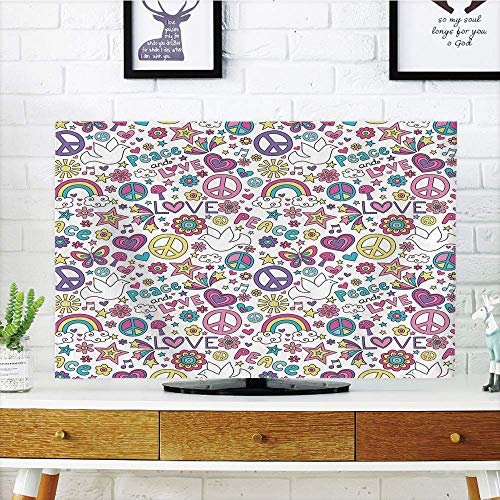 (LCD Funky TV dust Cover Customizable,Doodle,Retro Symbols of Sixties Peace Magic Mushroom Love Stars and Hearts Hippie Music Decorative,Compatible 42