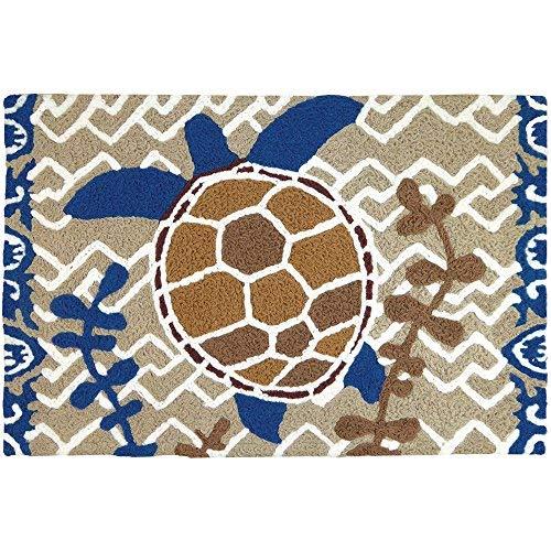 Jellybean Brown & Blue Turtle Coastal Indoor/Outdoor Machine Washable 21