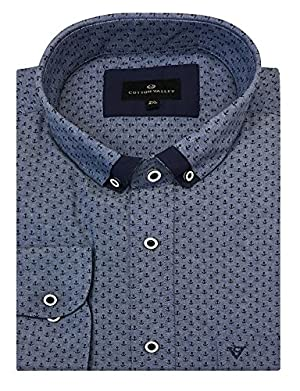 Cotton Valley Pure Cotton Anchor Print Denim Shirt with Smart Collar (15623) in Size 6XL