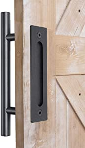 "DonYoung Heavy Duty 12"" Barn Door Handle Pull and Flush Set, Frosted Black Quality Steel Pull and Flush Door Handle for Sliding Door Gate Garage Closet Cabinet (Double-Side Handle)"