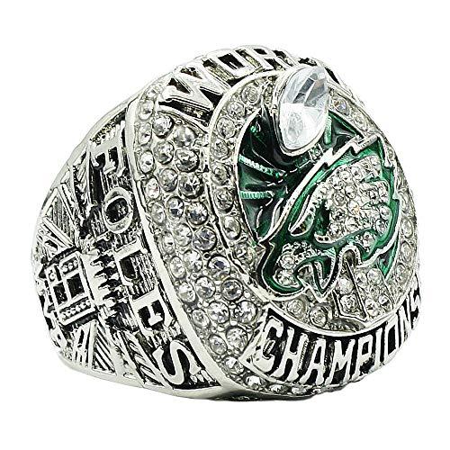 - DINO Mens Year 2017 Silver Diamond Philadelphia Eagles Championship Rings,Size 12