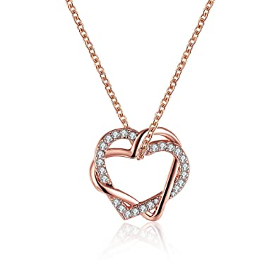FJYOURIA Women's Twisted Love Double Heart Pendant with Cubic Zirconia White/Gold Plated Infinity Love Necklaces OiThrqsT