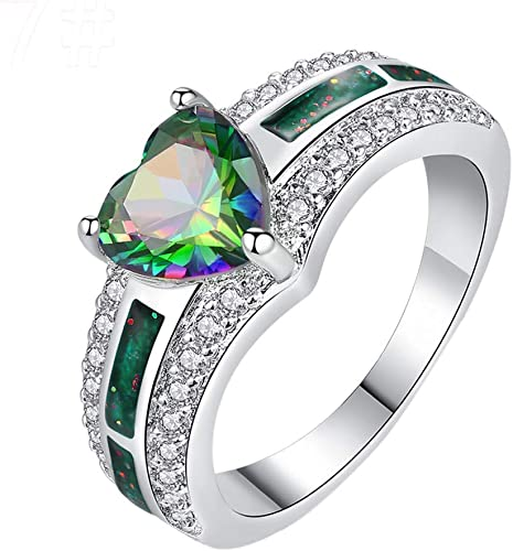 Dudee Jewelry women wedding Ring Green Stone Alloy Gold Ring Valentines Day//