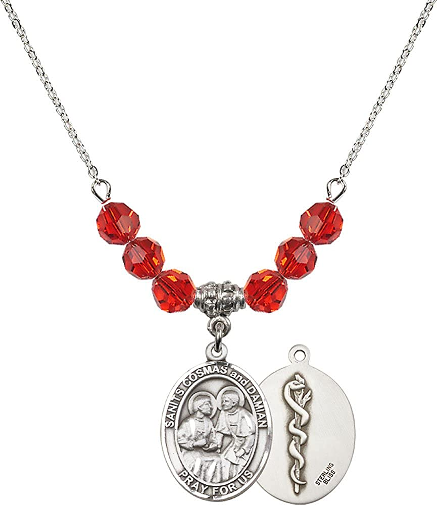 Doctors Charm. 18-Inch Rhodium Plated Necklace with 6mm Ruby Birthstone Beads and Sterling Silver Saints Cosmas /& Damian