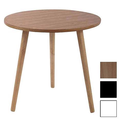 CLP Tavolino Rotondo da Salotto Kolding in Legno – Tavolo Soggiorno per  Divano o Porta Vasi in MDF e Legno di caucciù Natura 60 cm
