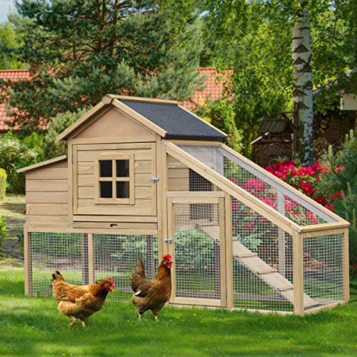 (Pet Paradise Large Chicken Coop Wooden Nesting Box Poultry Hutch with Run Hen House Outdoor Garden Weatherproof)