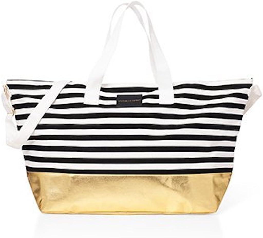 Victorias Secret Large Duffle Beach Weekender Tote Bag Getaway – Black White Stripe Gold