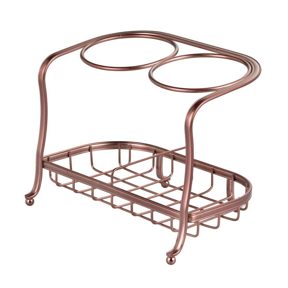 mDesign Porta phon e porta piastra Organizer in metallo ideale per phon Porta asciugacapelli in metallo resistente piastra e spazzole argento