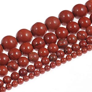 Natural Stone Beads 8mm Red Jasper Gemstone Round Loose Beads Crystal Energy Stone Healing Power for Jewelry Making DIY,1 Strand 15""