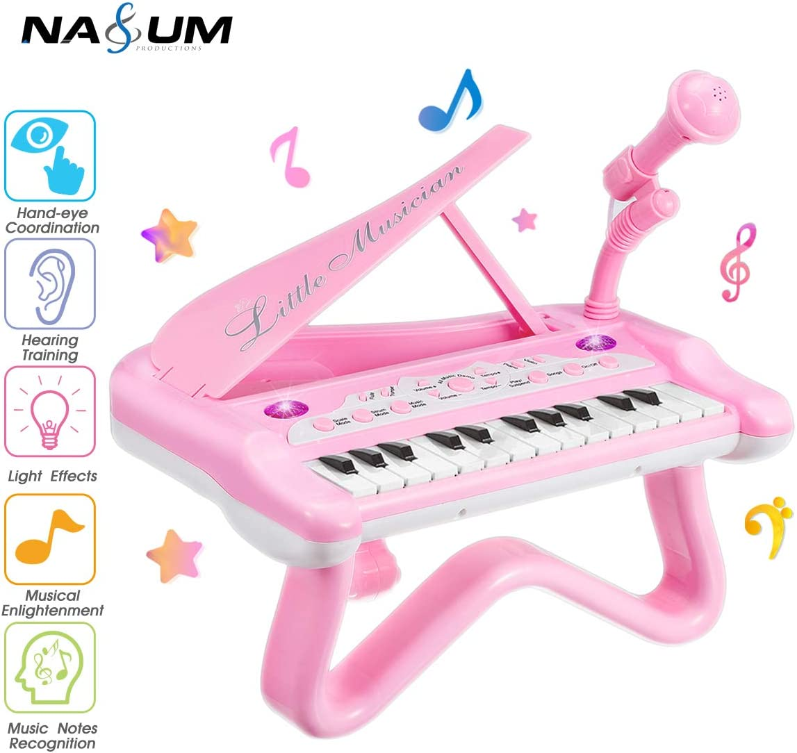 NASUM Piano Keyboard Toy for Kids,25 Keys Toy Piano with Microphone&Music Mode, Best Birthday Gifts for 2 3 4 5 6 Years Old Girls, Educational Multifunctional Musical Toy Piano for Toddlers