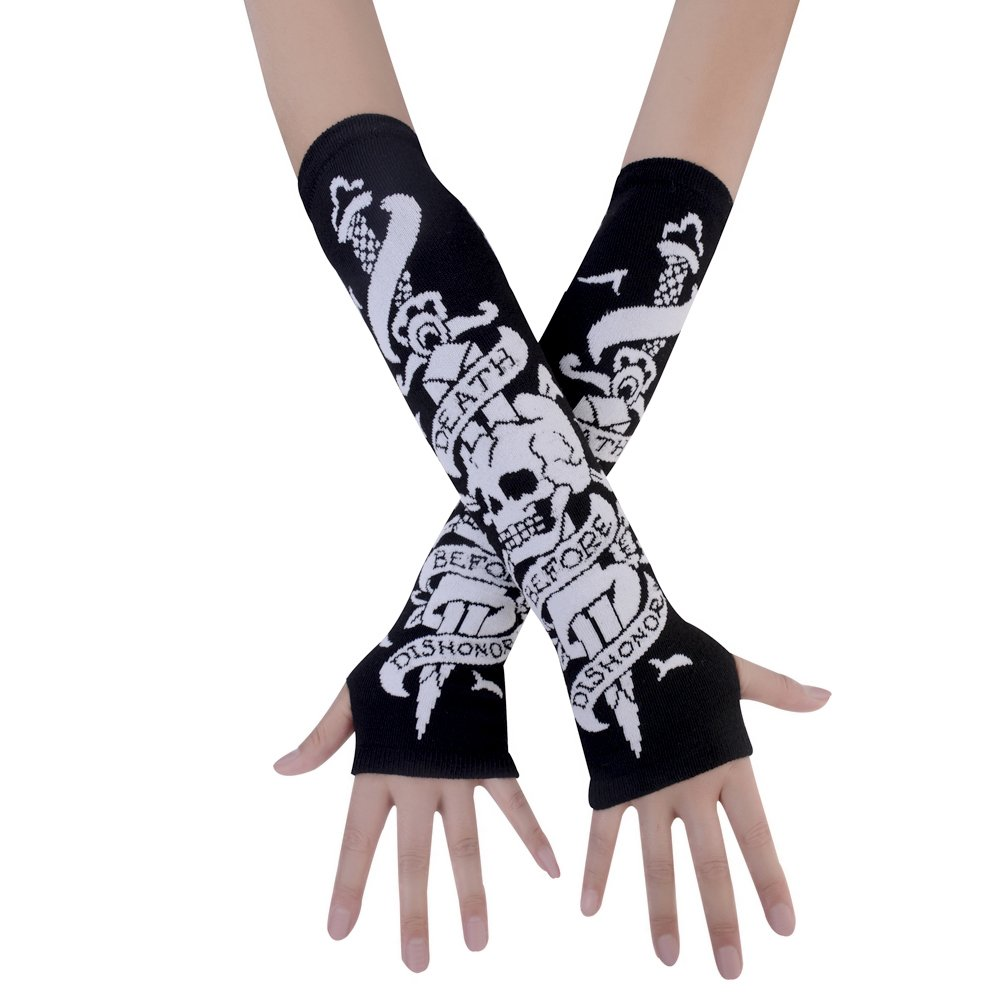 JISEN Black Punk Gothic Rock Knitted Soft Arm Warmer Fingerless Gloves Skeletons Bones CMG00442