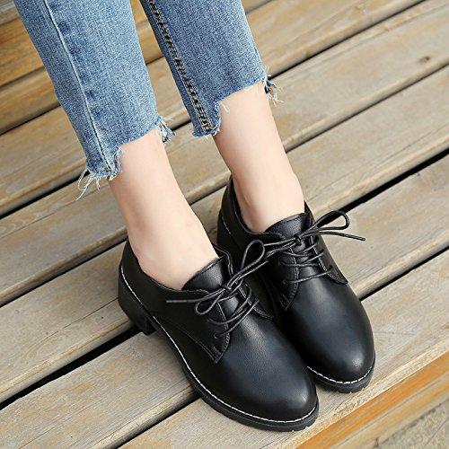 nella opaco retrò singolo con scarpe versatile collegio piccolo Nero studente del primavera cinghie spesso scarpe con vento La femminile e le pelle 1SpxwpTI