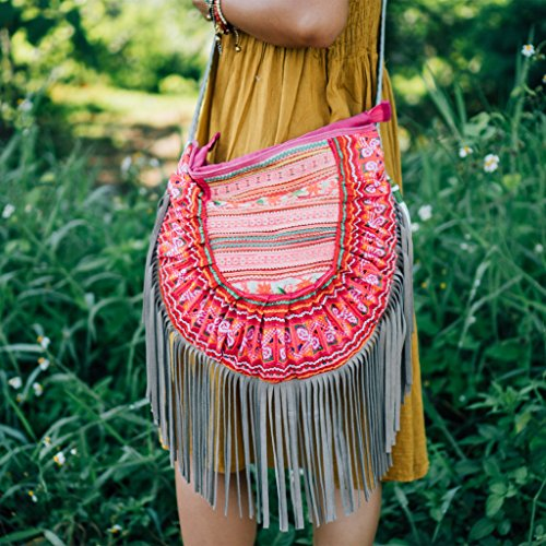 Changnoi Bohemian Leather Fringed Purse with Vintage Hmong Hill Tribe Embroidered for Womens in Pink from Thailand, Ethnic Boho Bags