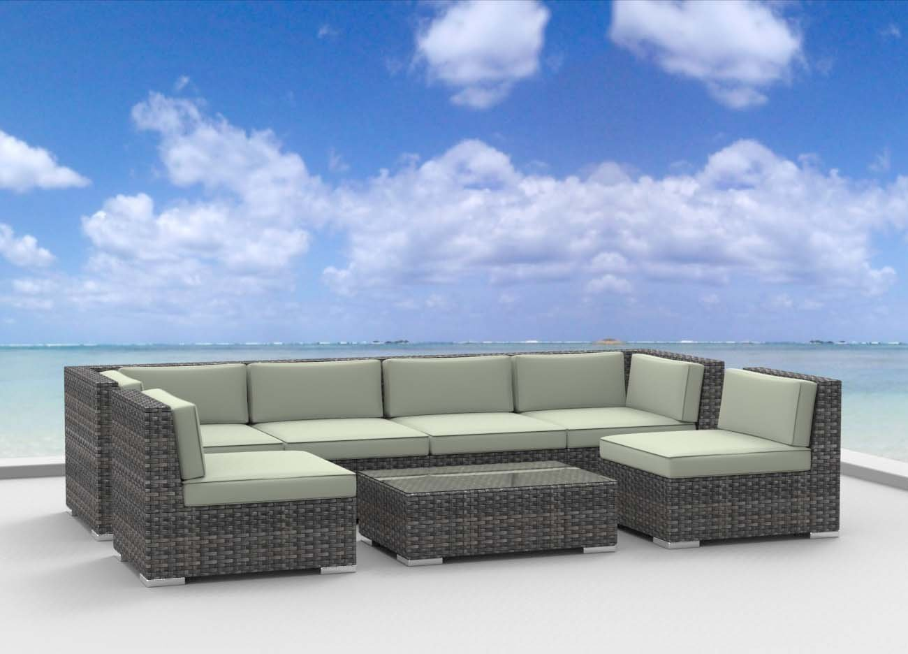 Urban Furnishing OAHU 7 Piece Wicker Rattan Patio Set – Beige