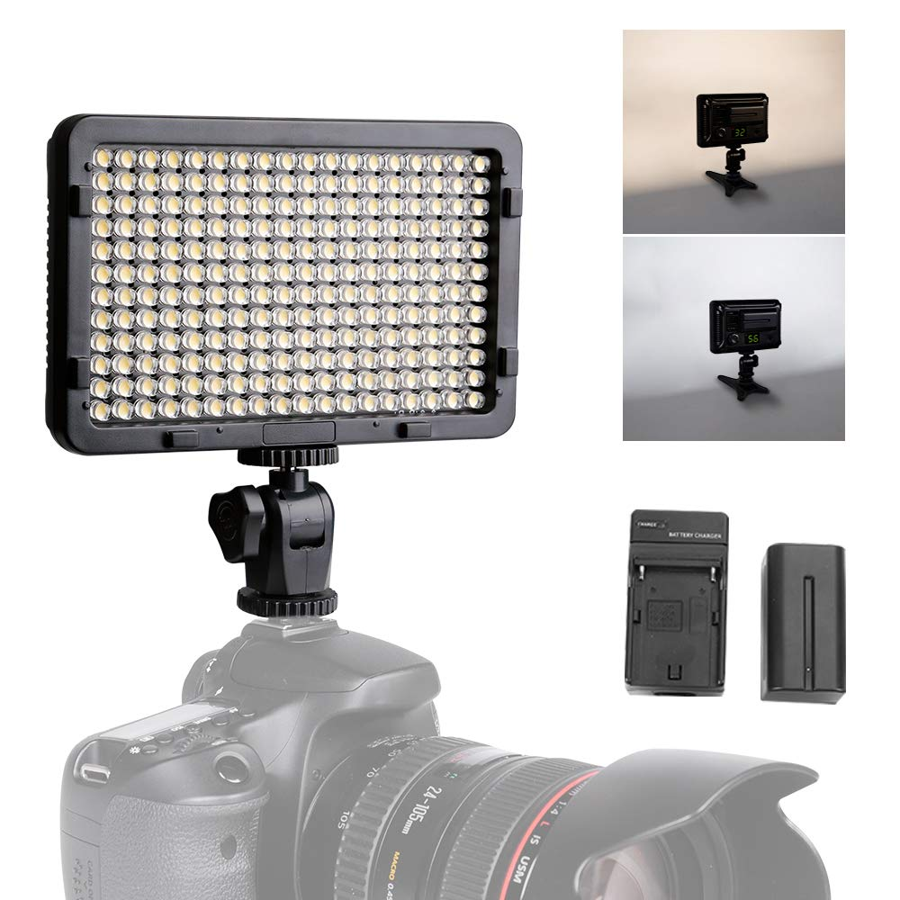 Light for Camera, Tolifo Portable 176 LED 3200K/5600K Photo Video Light Panel with NP-F550 Rechargeable Battery, Charger, Hot Shoe and Mini Table Stand (PT-176S)