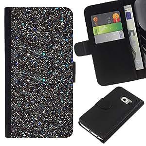 EJOY---La carpeta del tirón la caja de cuero de alta calidad de la PU Caso protector / Samsung Galaxy S6 EDGE / --Metal brillantes Recortes 3D Bling