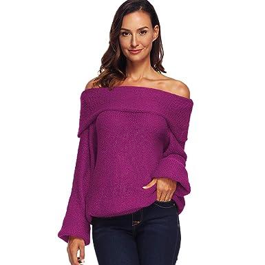 Femme Chandail en Tricot Manches Longues Épaule Pull Sweater Col Bateau  Lache Hauts sans Bretelles  Amazon.fr  Vêtements et accessoires 19d71b1d33e8