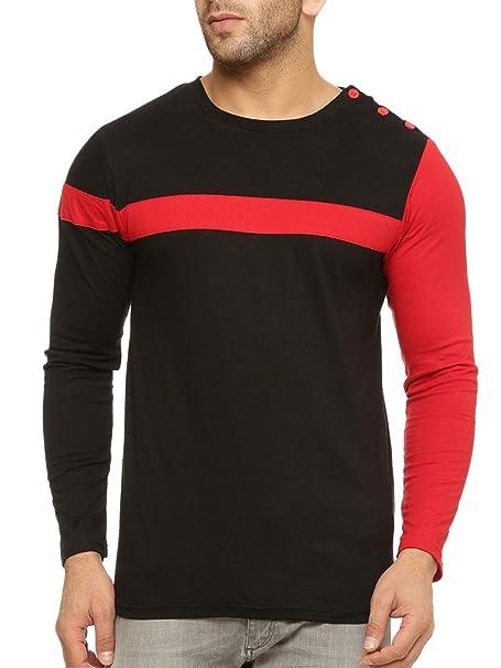 GRITSTONES Round Neck Full Sleeve T Shirt GSFSTSHT1299BLKRD Men's T-Shirts at amazon