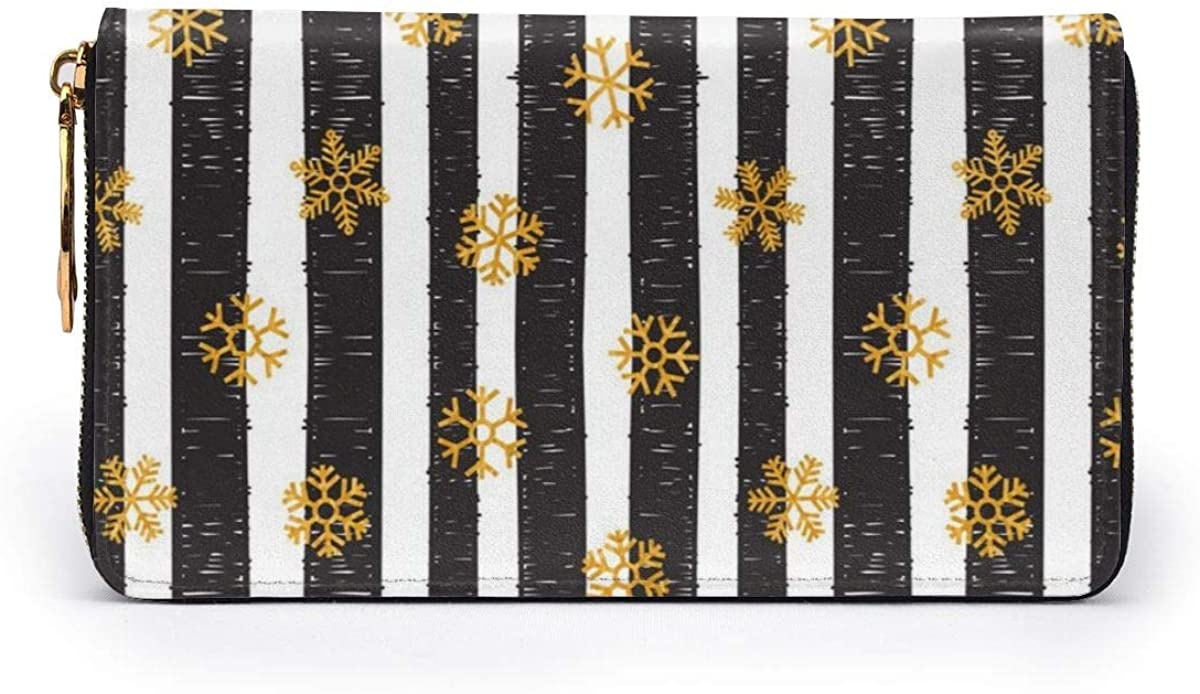Abstract Pattern Of Falling Snowflakes Leather Zipper Clutch Bag Wallet Large Capacity Long Purse For Women Customized