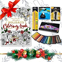 Holiday Edition - Prismacolor 150-Count Colored Pencils, Triangular Scholar Pencil Eraser, Premier Pencil Sharpener, Colorless Blender Pencils, and CSS Adult Coloring Book