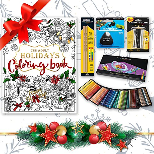 Holiday Bundle - Prismacolor 150-Count Colored Pencils, Triangular Scholar Pencil Eraser, Premier Pencil Sharpener, Colorless Blender Pencils, and CSS Adult Coloring - Blenders Shades