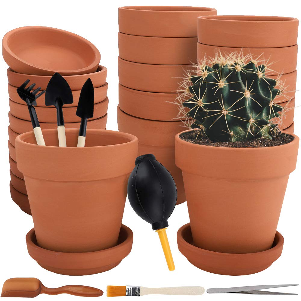 Nilos 12 Pack Terra Cotta Pots with Saucer – 12Pcs 3 inches Clay Pots with 7Pcs Succulent Tools Mini Flower Pot Planters for Succulent Display, Indoor, Outdoor