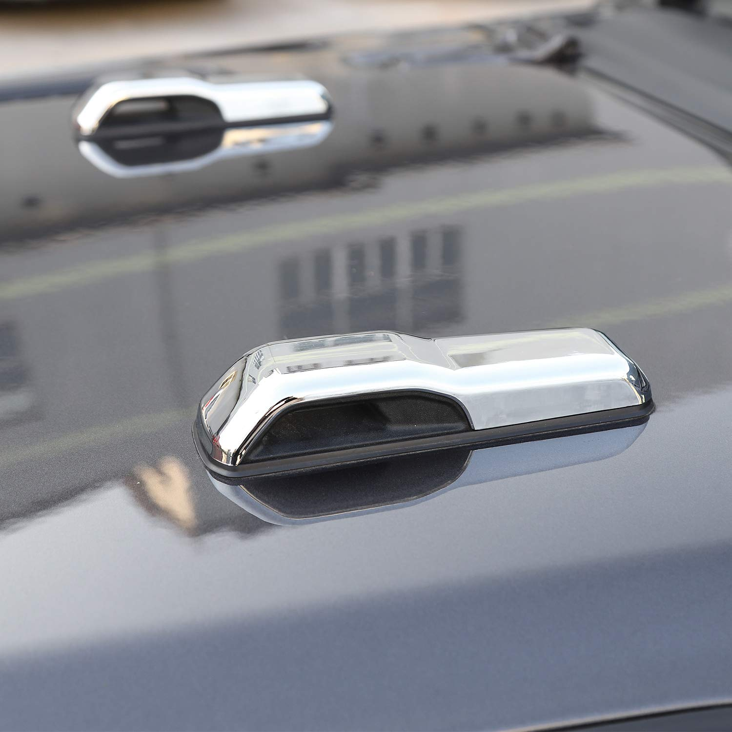 Chrome fits for 2020 Jeep Gladtiator JT CheroCar JL JT Engine Hood Hinge Cover Decoration Cover Stickers Exterior Accessories for 2018-2020 Jeep Wrangler JL JLU
