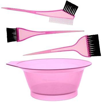 promobo set kit coloration cheveux teinture bol avec 2 pinceaux et peigne rose - Coloration Cheveux 61