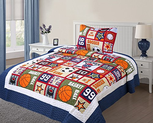MB Collection Navy Blue, Green, Brown, White with Soccer, Basketball, Baseball Kids Bedspread Quilts Set # Quilt Twin Size 05 by MB Home Linen