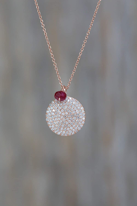 c03dc21f3882a Amazon.com: 14k Rose Gold Pave Diamond Disc Pendant Necklace with ...