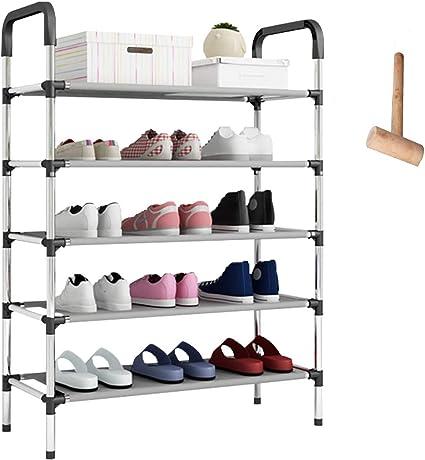 Owoda Zapatero de Metal de 5 Niveles,Negro,58 x 28 x 102 cm,Estantería para Zapatos para Guardar hasta 15 Pares de Zapatos,para Sala de Estar, ...