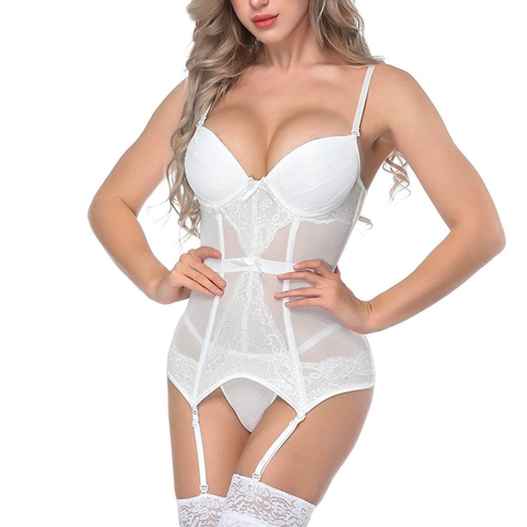 68f3319acfd Amazon.com  SCSAlgin Fashion Women Bustier Corset Sexy Girdle Waist Cincher  Bodydoll White Lingerie  Clothing