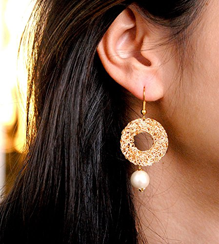 Earrings Dangling Handmade (Abhika Creations Golden Circular Mesh With Dangling White Pearl Handmade Unique Indian Jewelry Funky Quirky Style Designer Earrings For Girls Gift)