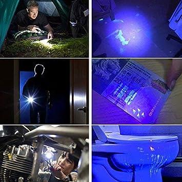 Detector de luz de la linterna Antorcha ultravioleta ultravioleta blanco púrpura para prueba Mini pluma UV linterna 395nm 2 en 1 linterna UV LED ...