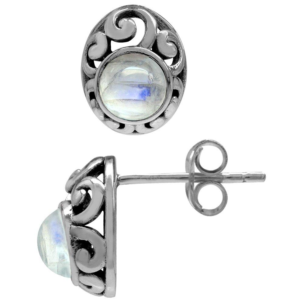 Petite Rainbow Moonstone 925 Sterling Silver Southwest Style Filigree Stud Earrings