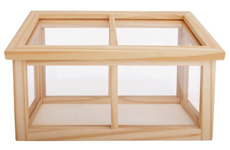 Esschert Design Holzgewächshaus, Pflanzkasten aus Holz, ca. 32 cm x 16 cm x 19 cm