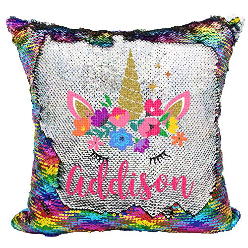 Personalized Mermaid Reversible Sequin Pillow, Custom Unicorn Sequin Pillow for Girls (Rainbow/Silver) by VeraFide
