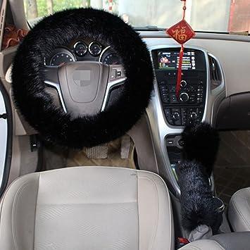 1 Set 3 Pcs Steering Wheel Cover Faux Wool Hand Brake Set Warm Winter Black