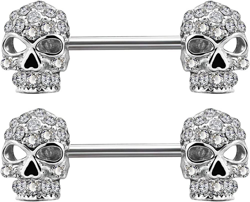 OUFER 2PCS 14G 316L Surgical Steel Nipple Rings Barbell Clear CZ Skull Nipple Bars Nipple Piercing