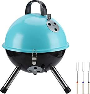 LeFroom 12-inch Charcoal Grill with 3pcs BBQ Forks Outdoor Courtyard Camping Picnic Roast Meat Home Barbecue Charcoal Oven(Blue)