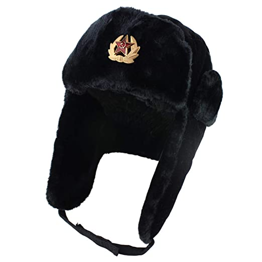 Russian Mens Army Hat Ushanka Leather Bomber Soviet Soldier Winter  Shearling Hot 4a2d62c1cc8f