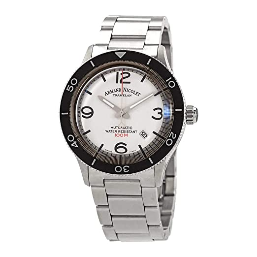 Reloj de Hombre Armand Nicolet Fabricado en Suiza. Caja y Correa de Acero Inoxidable. Mecánico automático: Amazon.es: Relojes
