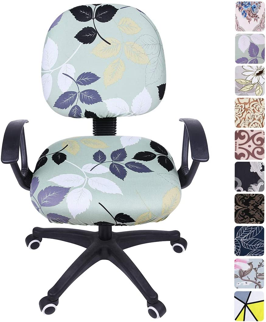 smiry Stretch Print Computer Office Chair Cover, Removable Washable Universal Desk Rotating Chair Slipcover, Green Leaves