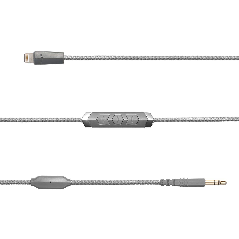 V-MODA Speakeasy DAC/AMP 3-Button Lightning Cable - Grey by V-MODA